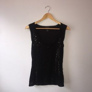 White House Black Market Tops - White House | Black Market Black Sequin Tank Top